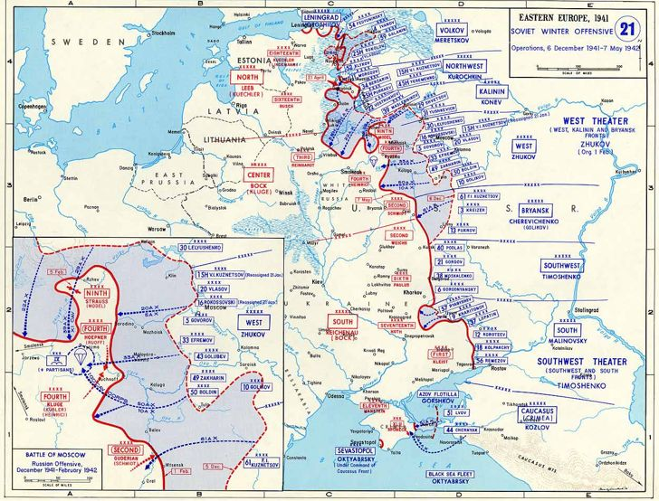 Map of Soviet Winter Counteroffensive