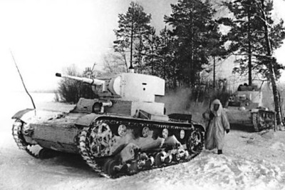 Soviet T-26 tank during the Winter counteroffensive